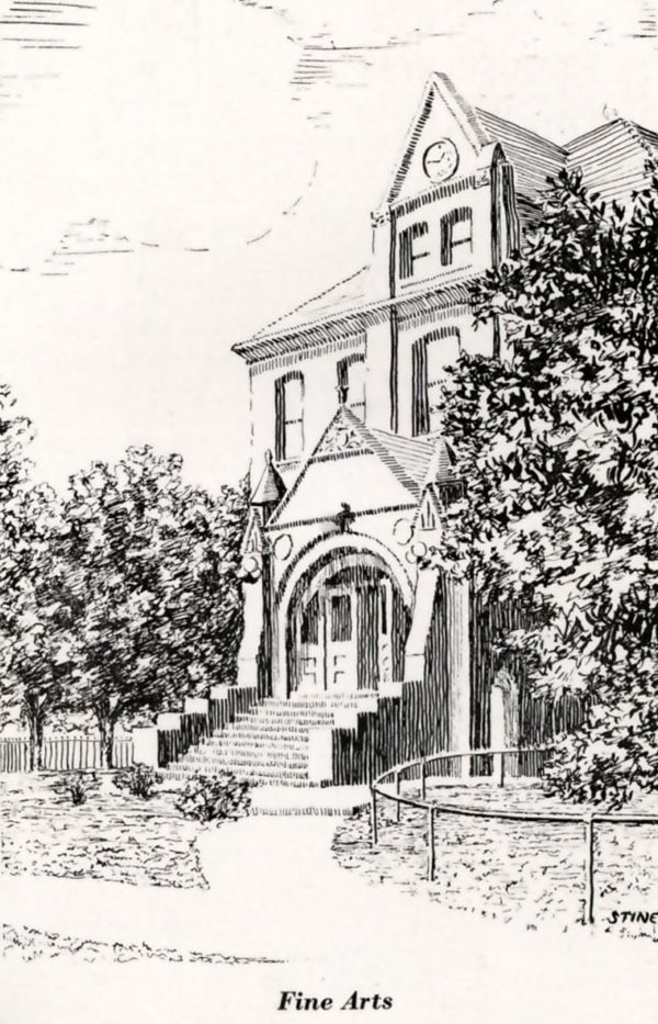 University of Nebraska Fine Arts Building drawing from the 1920 Cornhusker Yearbook, page 133.