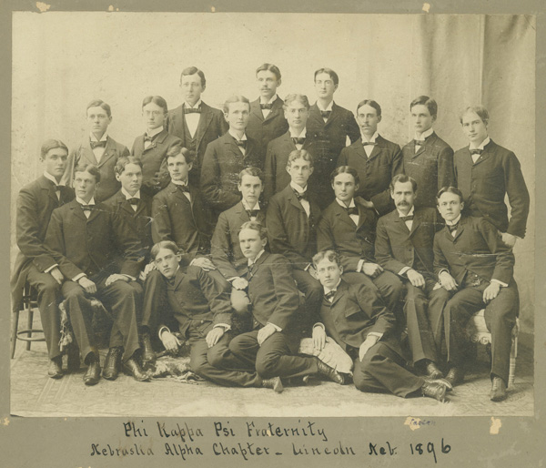 The members of Phi Kappa Psi pose for a group photo in 1896.