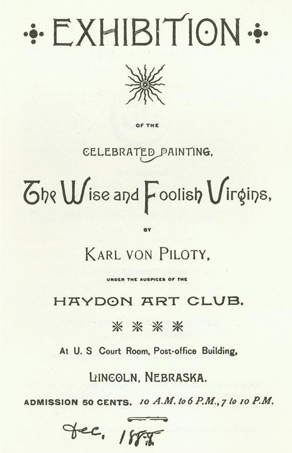A photograph of the flyer for the NAA First Exhibition: The Wise and Foolish Virgins, by Karl von Piloty, Dec. 1888 DOI: 2007