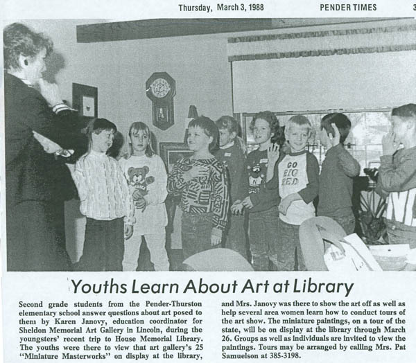 A photograph of museum educator Karen Janovy giving Statewide exhibit Tour, published in Pender Times, March 3, 1988 DOI: 2007