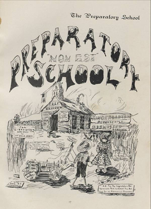 A drawing of the Latin School at its demise in the 1898 Sombrero.