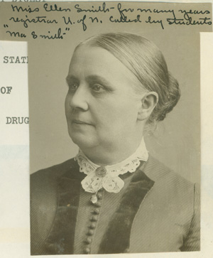 Portrait of Ellen Smith from Helena Redford's scrapbook about her life in the Latin School.