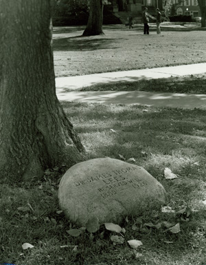 Photograph of the memorial stone of Dr. James Lees outside of Architecture Hall on the University of Nebraska-Lincoln campus.