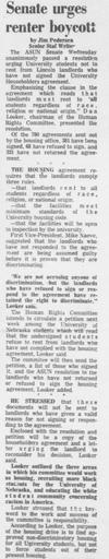 An article by Jim Pedersen as seen in the September 19, 1968 Daily Nebraskan, c. 1968.