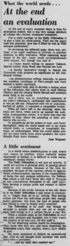 An article by June Wagoner as seen in the May 5, 1969 Daily Nebraskan, c. 1969.