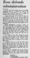 A letter to editor Jack Todd from G. Robert Ross as seen in the October 16, 1968 Daily Nebraskan, c. 1968.