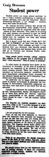 An article by Craig Dreeszen as seen in the March 4, 1968 Daily Nebraskan, c. 1968.