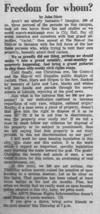 An article by John Dietz as seen in the October 16, 1968 Daily Nebraskan, c. 1968.
