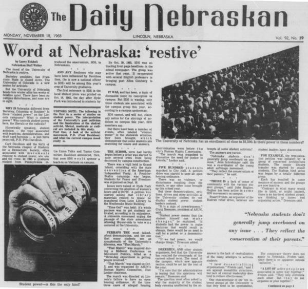 A Daily Nebraskan article from November 18, 1968, c. 1968.