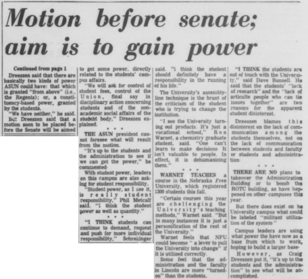 A Daily Nebraskan article from November 20, 1968, c. 1968.