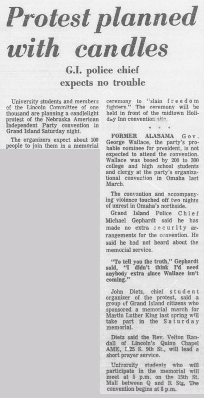 A Daily Nebraskan article from September 13, 1968, c. 1968.