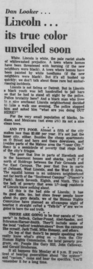A Daily Nebraskan article from December 6, 1968, c. 1968.