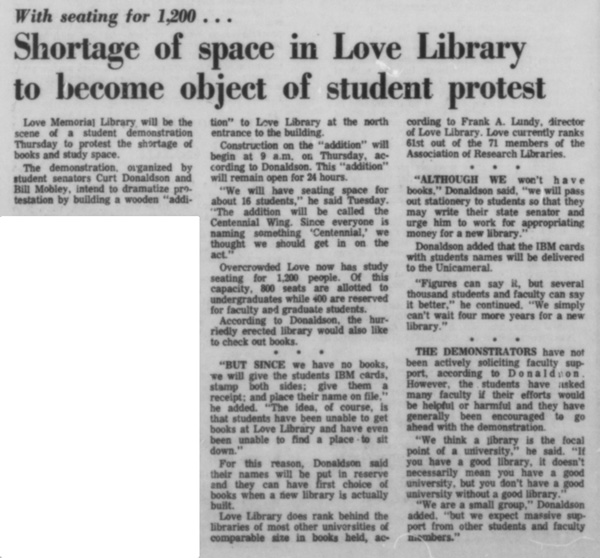 A Daily Nebraskan article from March 6, 1969, c. 1969.