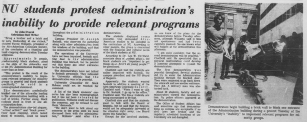 A Daily Nebraskan article from April 16, 1969, c. 1969.