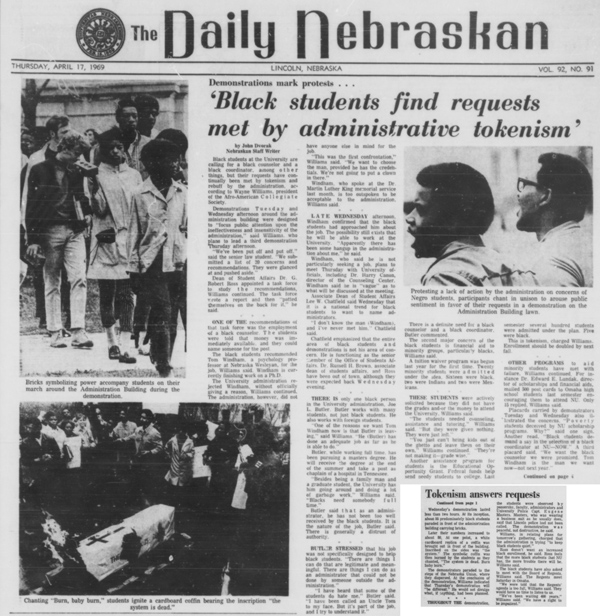 A Daily Nebraskan article from April 17, 1969, c. 1969.
