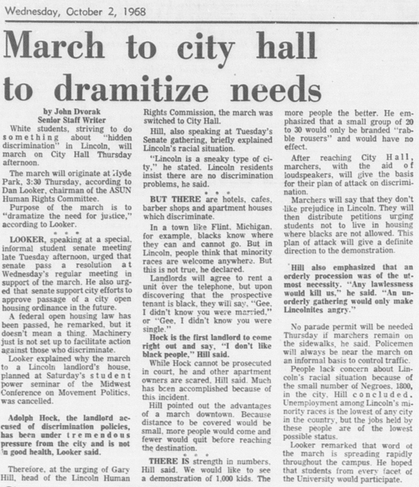 A Daily Nebraskan article from October 2, 1968, c. 1969.