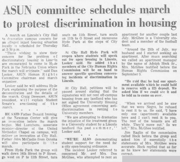 A Daily Nebraskan article from October 3, 1968, c. 1969.