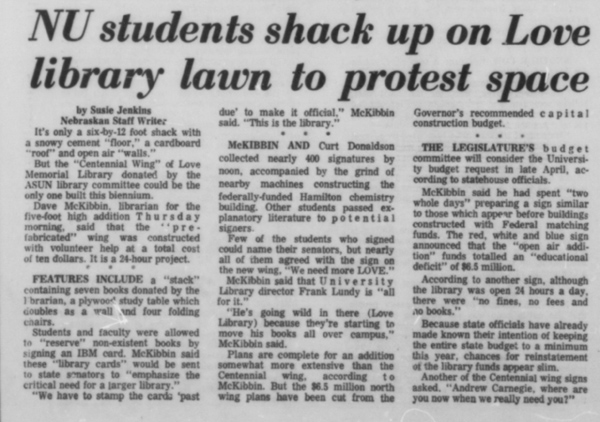 An article from March 7, 1969 in the Daily Nebraskan, c. 1969.