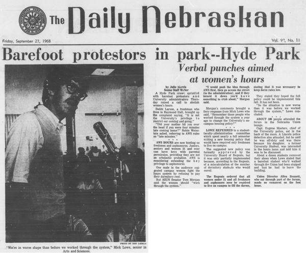 A Daily Nebraskan article from September 27, 1968, c. 1968.