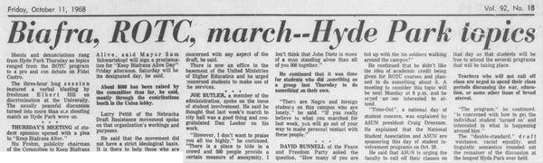 A Daily Nebraskan article from October 11, 1968, c. 1968.