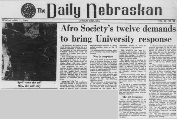 An article from April 21, 1969 in the Daily Nebraskan, c. 1969.