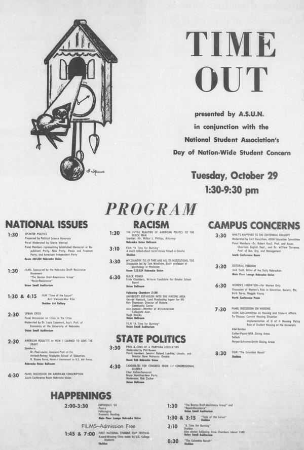 A program from October 28, 1968 in the Daily Nebraskan, c. 1968.