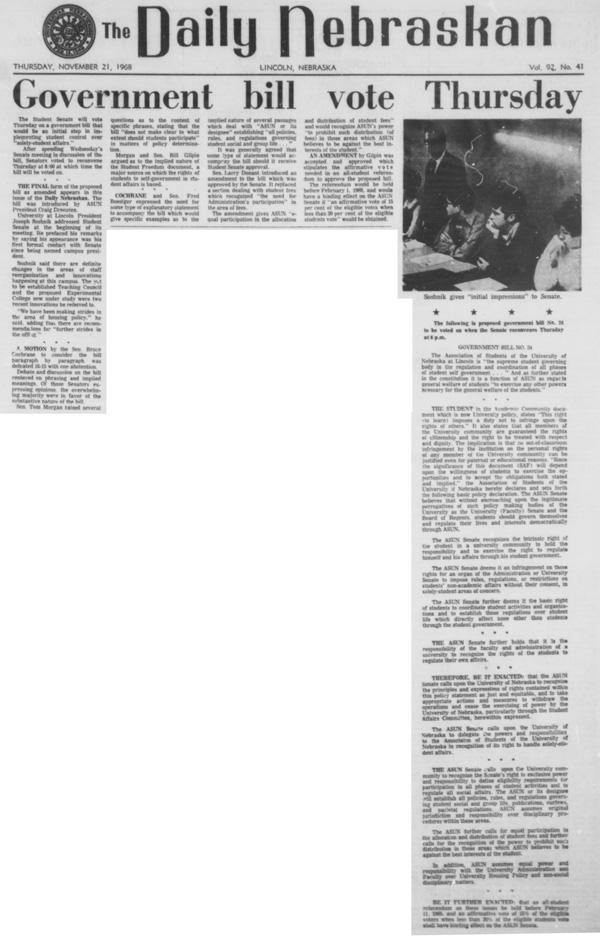 A program from November 21, 1968 in the Daily Nebraskan, c. 1968.