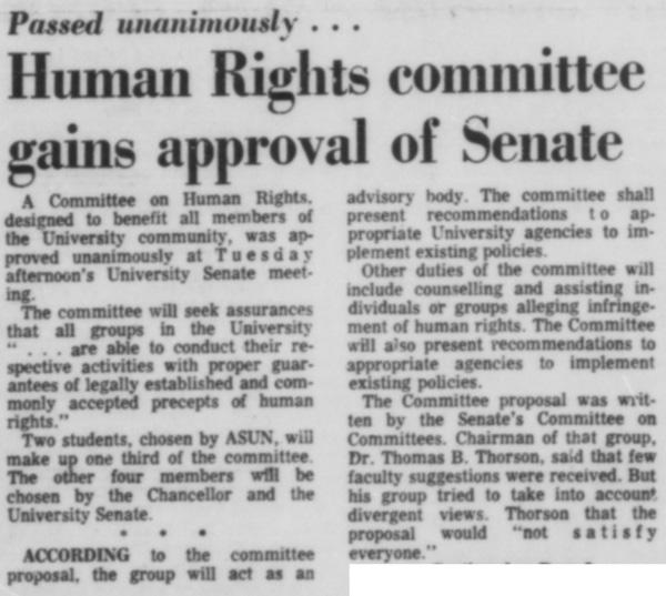 A February 12, 1969 article in the Daily Nebraskan, c. 1969.