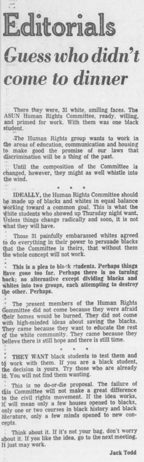 A September 27, 1968 article in the Daily Nebraskan, c. 1968.