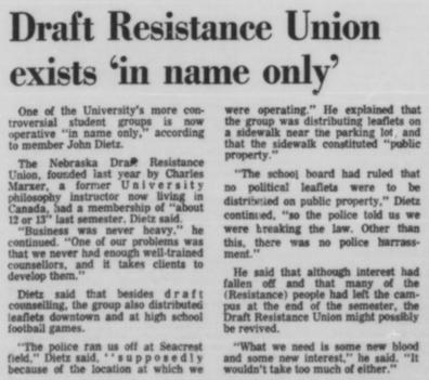 A March 10, 1969 article in the Daily Nebraskan, c. 1969.