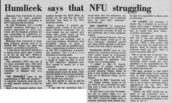 A February 27, 1969 article in the Daily Nebraskan, c. 1969.