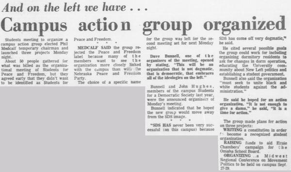 A September 18, 1968 article in the Daily Nebraskan, c. 1968.
