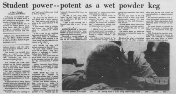 A Daily Nebraskan article from November 22, 1968, c. 1968.