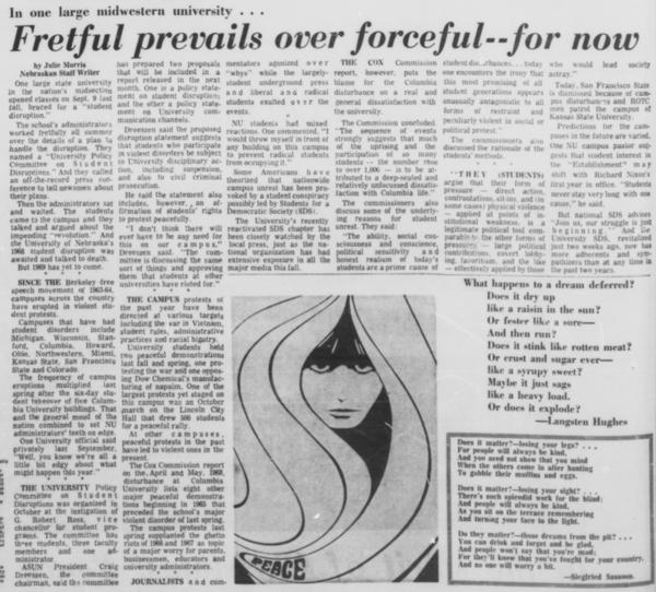 A Daily Nebraskan article from December 20, 1968, c. 1968.