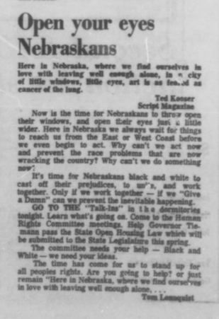 A Daily Nebraskan article from December 9, 1968, c. 1968.