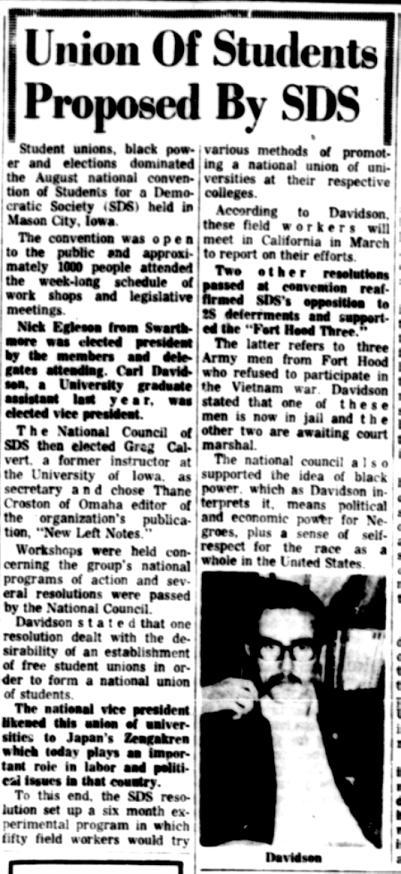 Carl Davidson elected SDS National Office vice president, September 15, 1966. DOI: 4