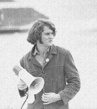 Unidentified UNL student leads protest, c. 1970.  DOI: 5