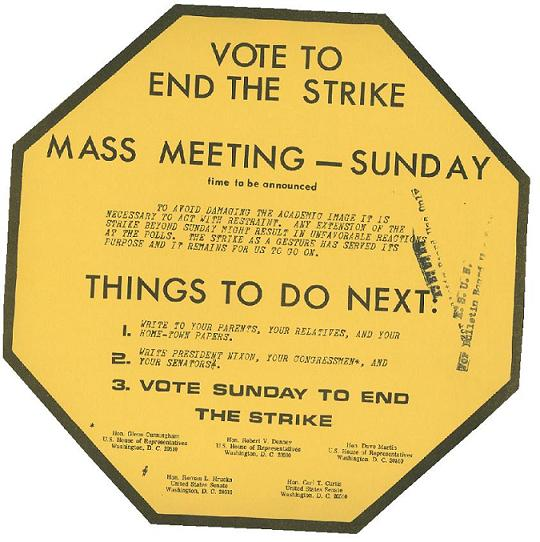 Flier urging students not to continue strike, May 1970.  DOI: 7