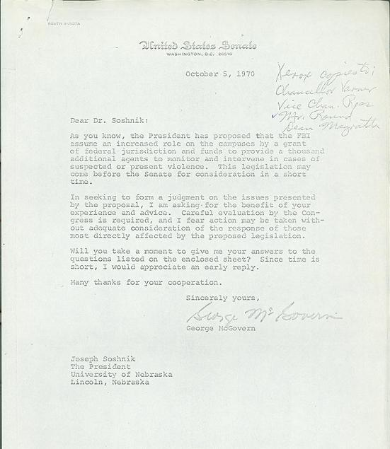 Letter to President Joseph Soshnik from Senator George McGovern, October 5, 1970.  DOI: 9