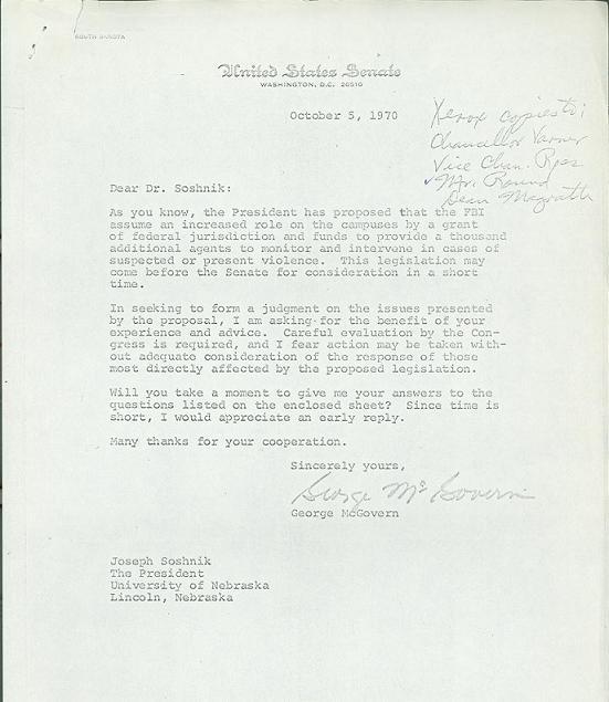 Letter to President Joseph Soshnik from Senator George McGovern, October 5, 1970.  DOI: 9