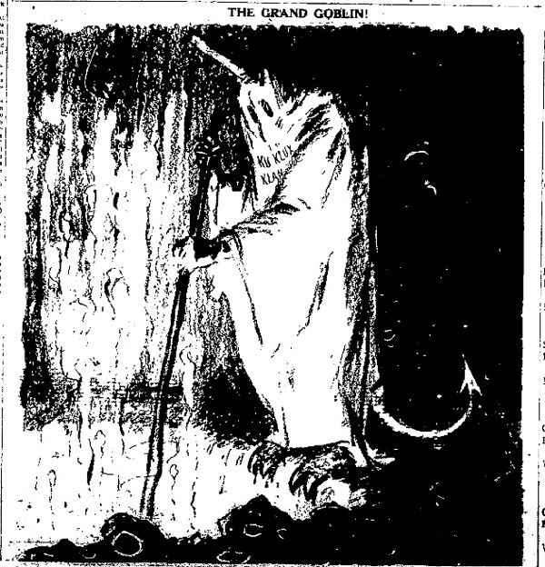 A political cartoon demonizing the Ku Klux Klan.