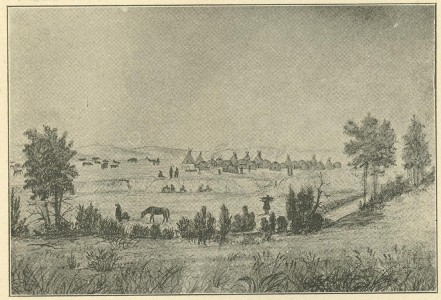 An illustration of the Omaha Indian Village on Papillion Creek, 1854. DOI: 2