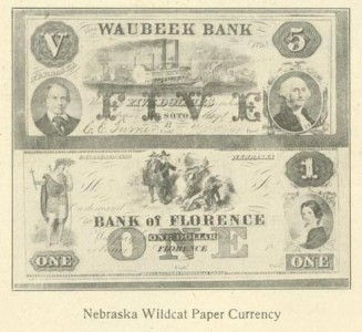 Two Wildcat notes from the Waubeek Bank and the Bank of Florence, c. 1856.  DOI: 5